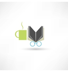 Coffee book and glasses vector image