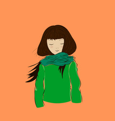 cute winter girl with closed eyes dressed in green vector image vector image