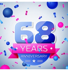 Sixty eight years anniversary celebration on grey vector image vector image