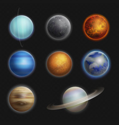 solar system planets realistic set isolated vector image