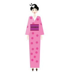 woman in kimono female in traditional japanese vector image vector image