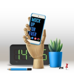 Workspace mock up with phone vector image vector image