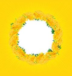 Wreath dandelions isolated summer card yellow vector