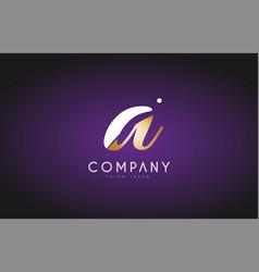 A alphabet letter gold golden logo icon design vector