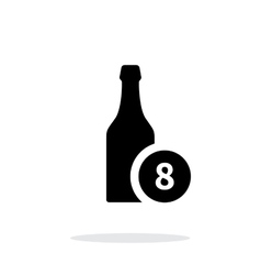 Beer bottle with number simple icon on white vector