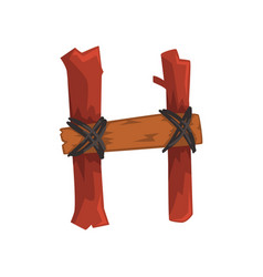 cartoon letter h created of two wooden sticks and vector image