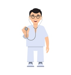 Character doctor with a stethoscope vector image vector image