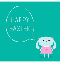 Easter bunny girl and dash line egg bubble vector image