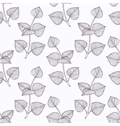 Hand drawn perilla herb branch outline seamless vector image vector image