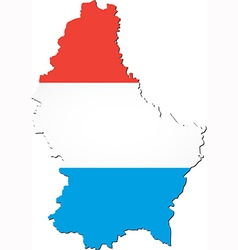 Map of Luxembourg with national flag vector image vector image
