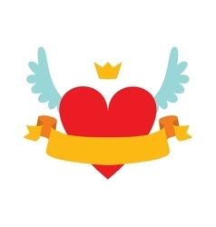 Red heart abstract with crown wings and yellow vector image