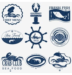 Set of vintage sea food logos logo templates and vector image