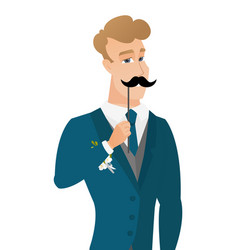 Young caucasian groom with a fake mustache vector