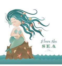 Beautiful mermaid girl sitting on the rock vector image vector image