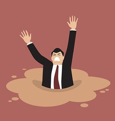 Businessman sinking in a puddle of quicksand vector image vector image