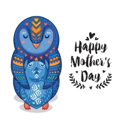 Card for Mothers Day with penguins vector image vector image