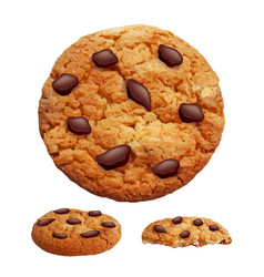 chocolate chip cookies 3d photo realistic vector image vector image