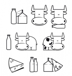 cow and dairy food vector image vector image