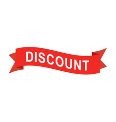 discount text on red ribbon vector image