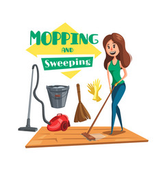 House mopping and sweeping poster vector