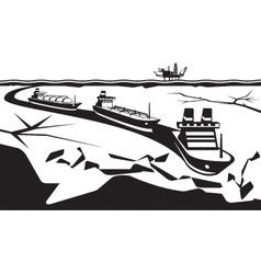 Icebreaker make way for industrial ships vector image vector image