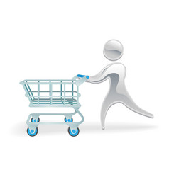 metallic character shopping cart trolly concept vector image vector image