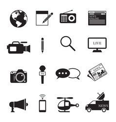 News and Journalism Mono Icons Set vector image