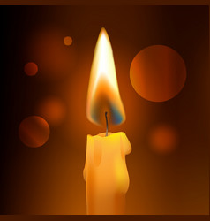 realistic flame wax church candle on dark vector image vector image