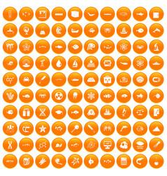 100 oceanology icons set orange vector