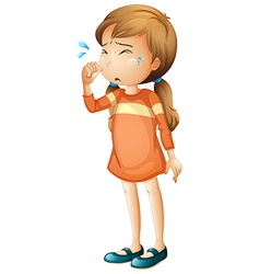 A baby girl crying vector image