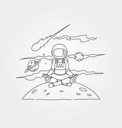 Astronaut meditation on planet symbol design vector