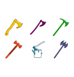 axe icon set color outline style vector image