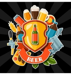 Background design with beer stickers and objects vector image