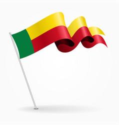 Benin pin wavy flag vector