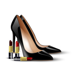 black lady shoes and lipstick on isolated backgrou vector image