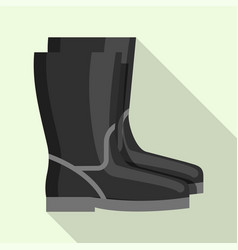 black rubber welder boots icon flat style vector image