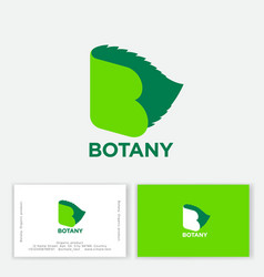 botany monogram letter b open book and life vector image