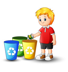 Boy putting aluminum in recycling bin vector