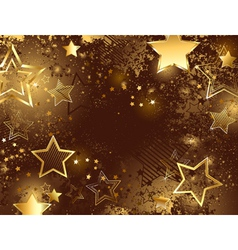 Brown background with golden stars vector