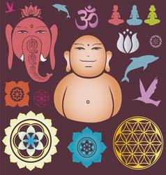 Buddah and ganesh collection vector