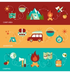 Camping flat banner vector