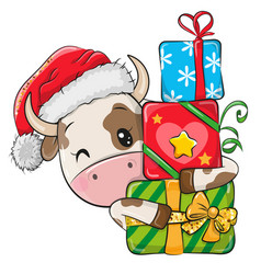 Cartoon bull with gifts in a santa hat vector