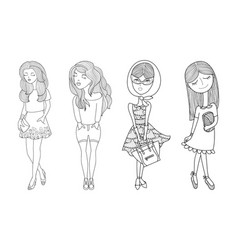 Cartoon girls set hand drawn vector