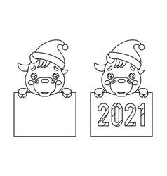 Cartoon lineart 2021 year cute baby cow ox cub vector