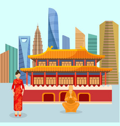 china urban travel concept with chinese landmarks vector image