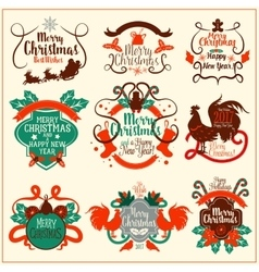 Christmas and New Year vintage badge set vector