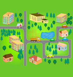 City map for children play mat vector