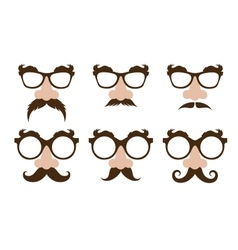 Closeup a fake nose and glasses with mustache vector