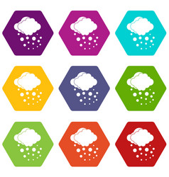 Cloud with hail icon set color hexahedron vector