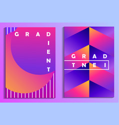 Colorful gradients poster set synthwave futurism vector